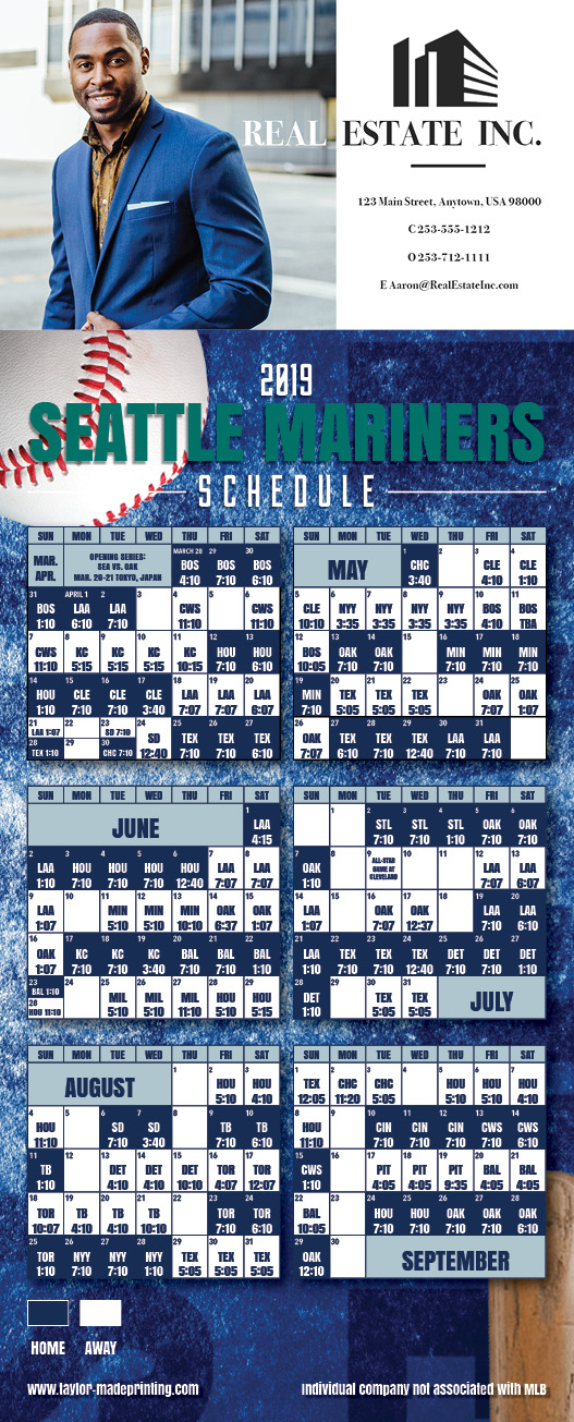 Magnet Schedule Seattle Mariners bat and baseball