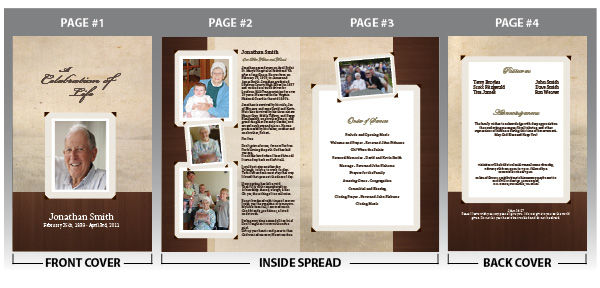 Customize your memorial programs with photos and text of your loved one