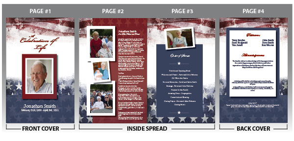 Customize your military funeral programs with photos and text of your loved one