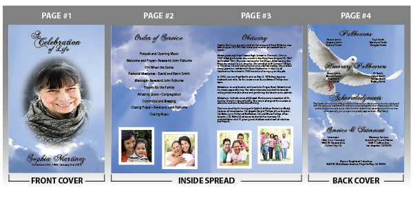 Customize your funeral programs with photos and text of your loved one