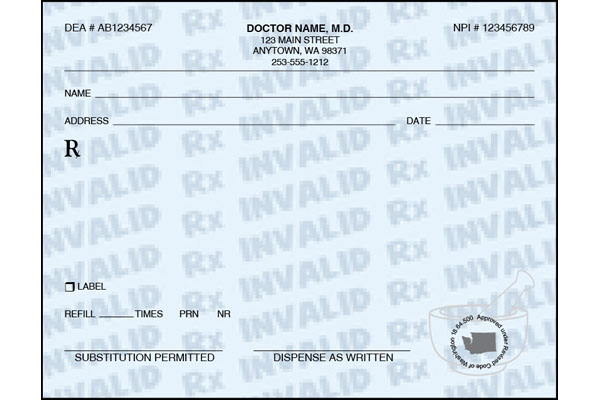 Washington State Prescription Pads