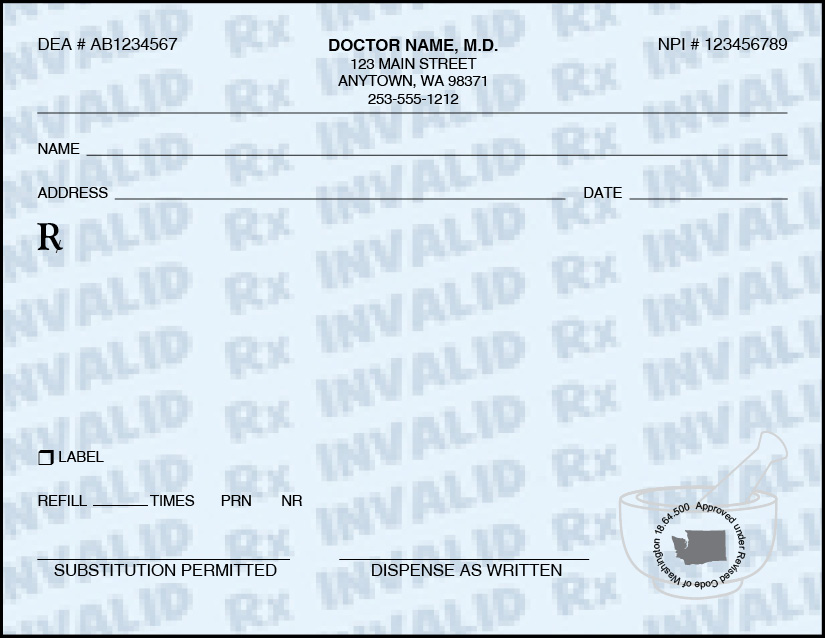Washington State Prescription Pads we will design for you